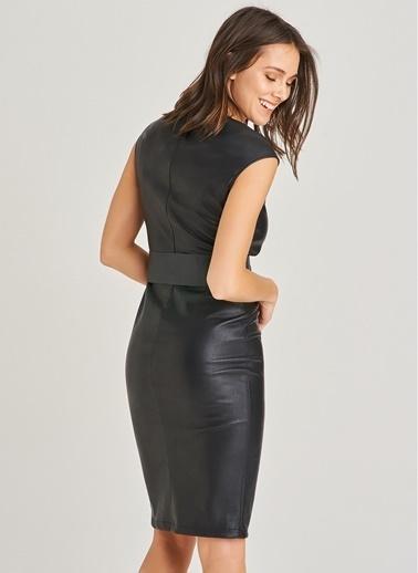 People By Fabrika Önü Düğme Detaylı Deri Elbise Siyah